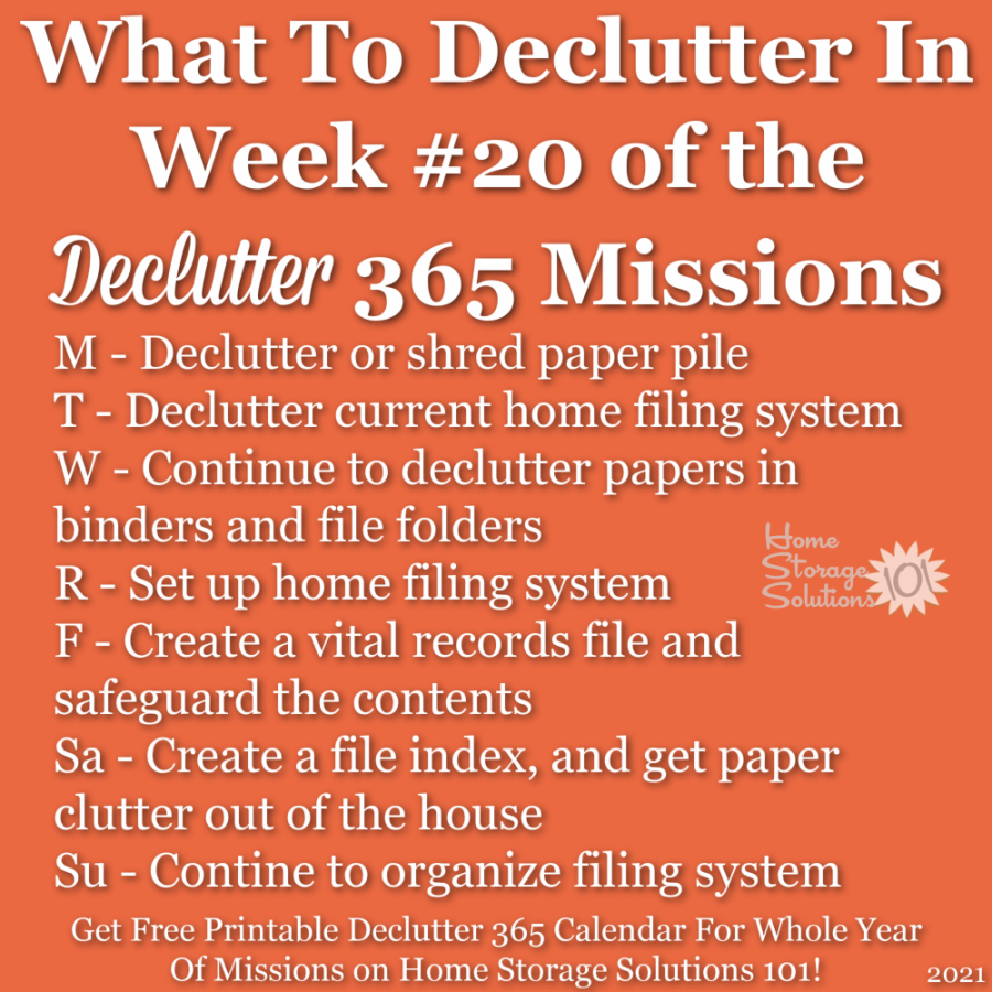 What to declutter in week #20 of the Declutter 365 missions {get a free printable Declutter 365 calendar for a whole year of missions on Home Storage Solutions 101!}