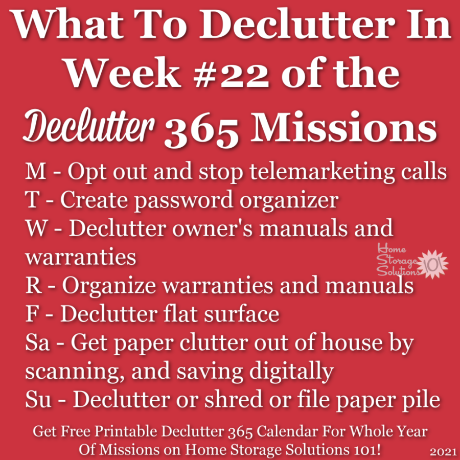 What to declutter in week #22 of the Declutter 365 missions {get a free printable Declutter 365 calendar for a whole year of missions on Home Storage Solutions 101!}
