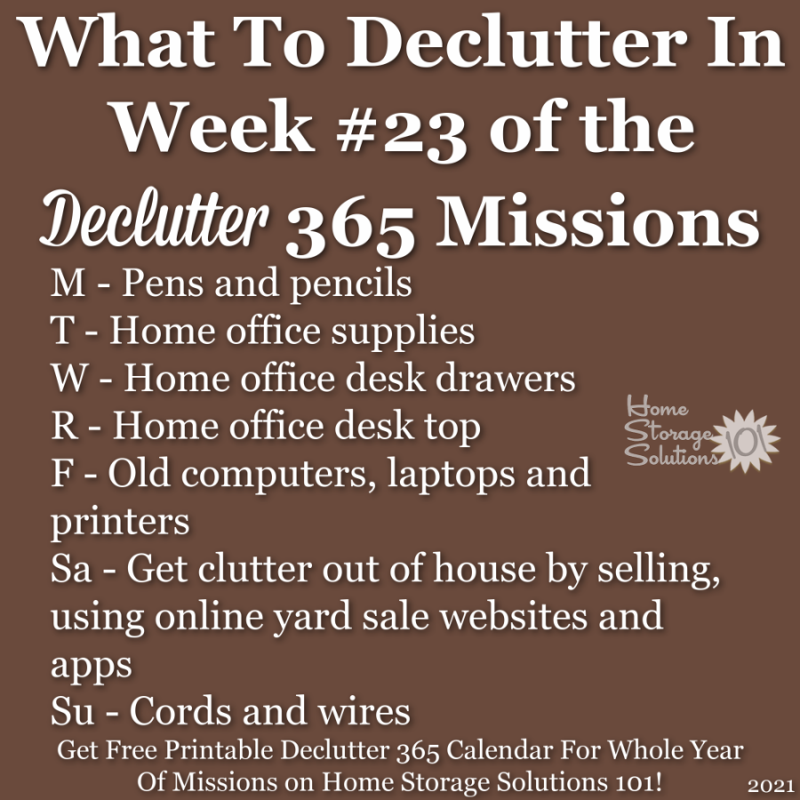 What to declutter in week #23 of the Declutter 365 missions {get a free printable Declutter 365 calendar for a whole year of missions on Home Storage Solutions 101!}