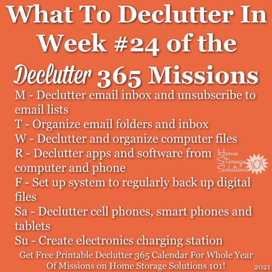 What to declutter in week #24 of the Declutter 365 missions {get a free printable Declutter 365 calendar for a whole year of missions on Home Storage Solutions 101!}