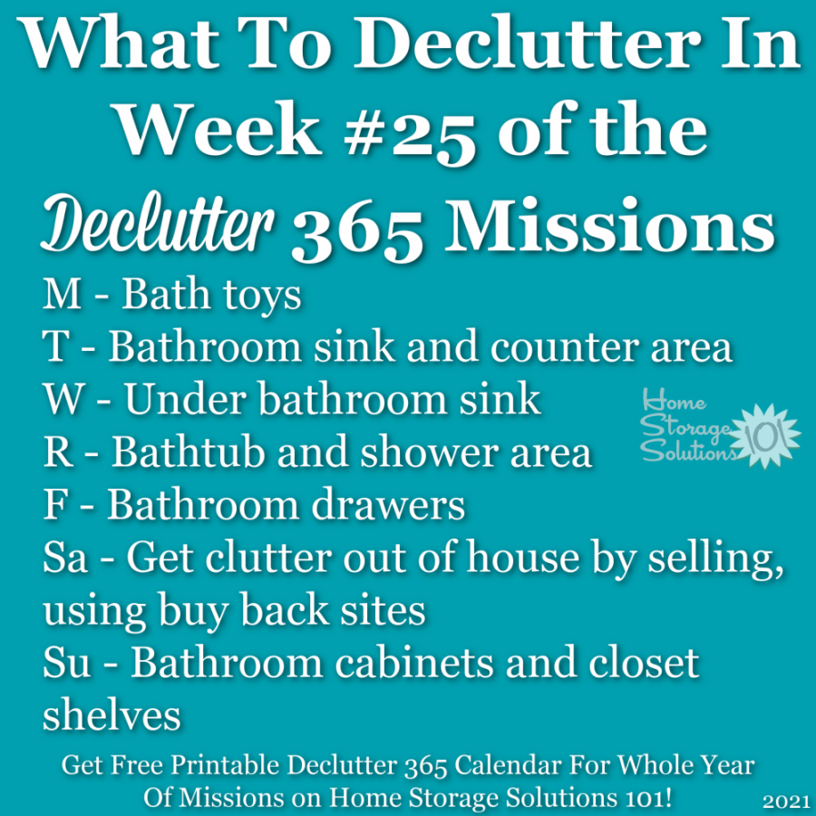 What to declutter in week #25 of the Declutter 365 missions {get a free printable Declutter 365 calendar for a whole year of missions on Home Storage Solutions 101!}