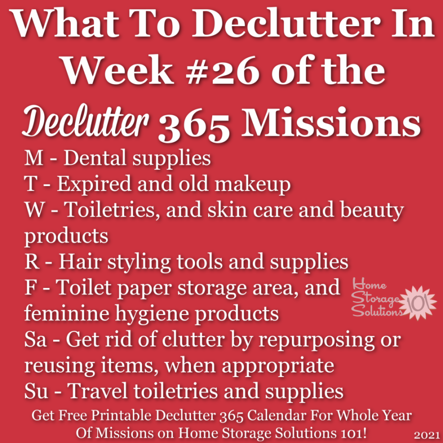 What to declutter in week #26 of the Declutter 365 missions {get a free printable Declutter 365 calendar for a whole year of missions on Home Storage Solutions 101!}