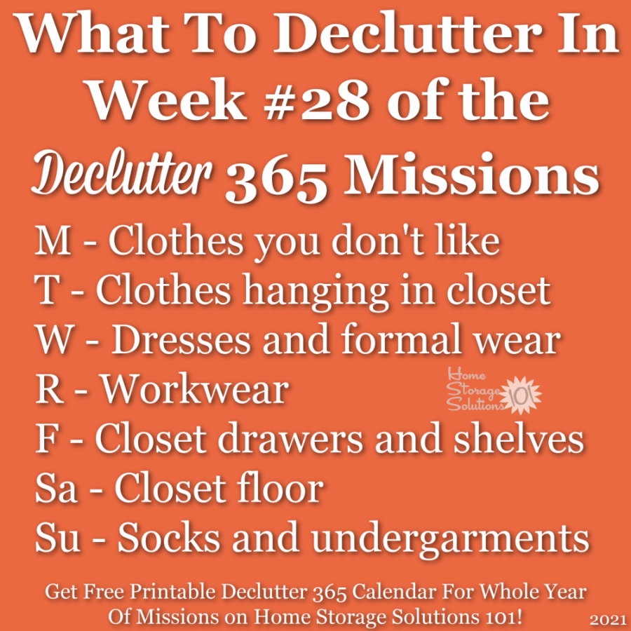 What to declutter in week #28 of the Declutter 365 missions {get a free printable Declutter 365 calendar for a whole year of missions on Home Storage Solutions 101!}