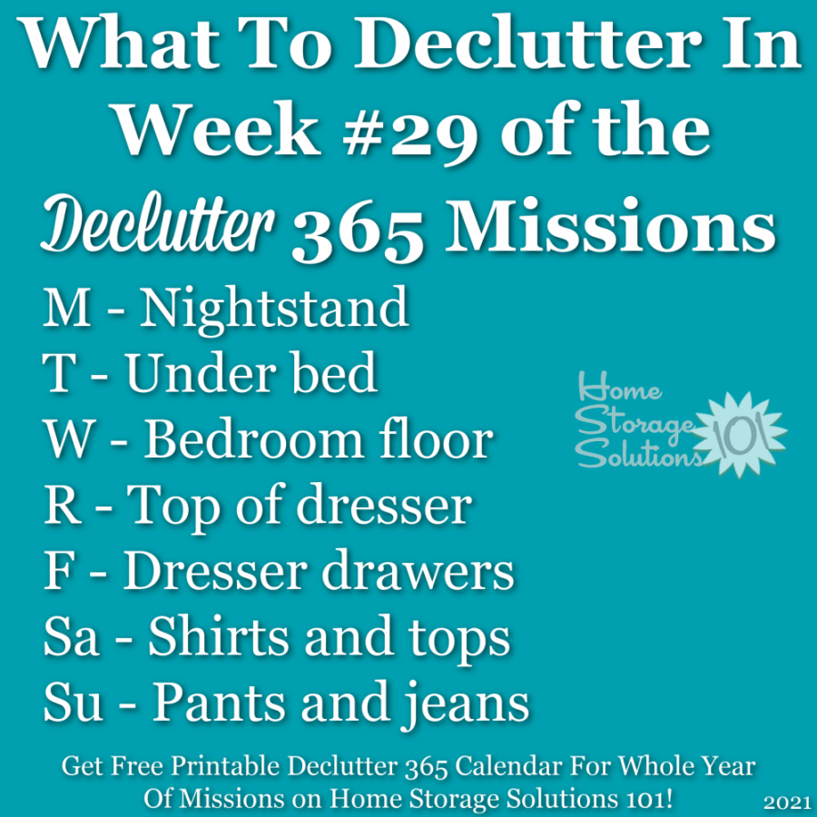 What to declutter in week #29 of the Declutter 365 missions {get a free printable Declutter 365 calendar for a whole year of missions on Home Storage Solutions 101!}