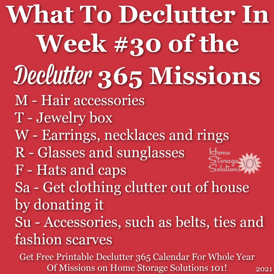 What to declutter in week #30 of the Declutter 365 missions {get a free printable Declutter 365 calendar for a whole year of missions on Home Storage Solutions 101!}