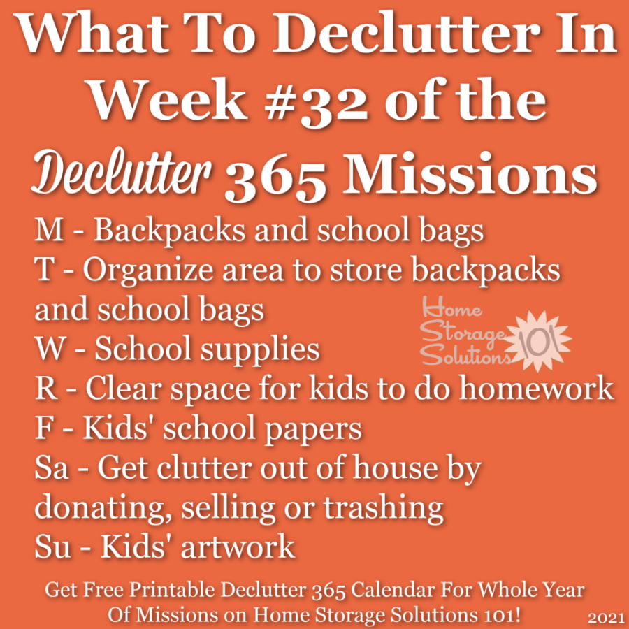 What to declutter in week #32 of the Declutter 365 missions {get a free printable Declutter 365 calendar for a whole year of missions on Home Storage Solutions 101!}