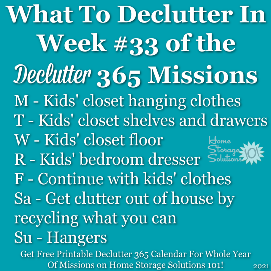 What to declutter in week #33 of the Declutter 365 missions {get a free printable Declutter 365 calendar for a whole year of missions on Home Storage Solutions 101!}
