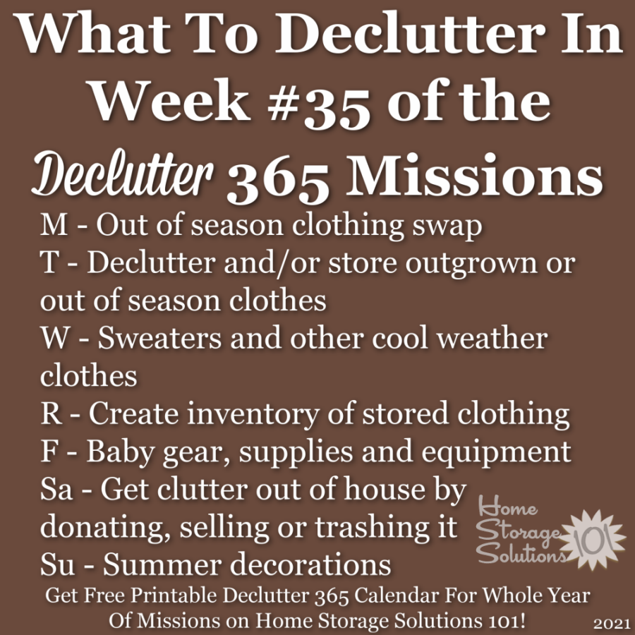 What to declutter in week #35 of the Declutter 365 missions {get a free printable Declutter 365 calendar for a whole year of missions on Home Storage Solutions 101!}