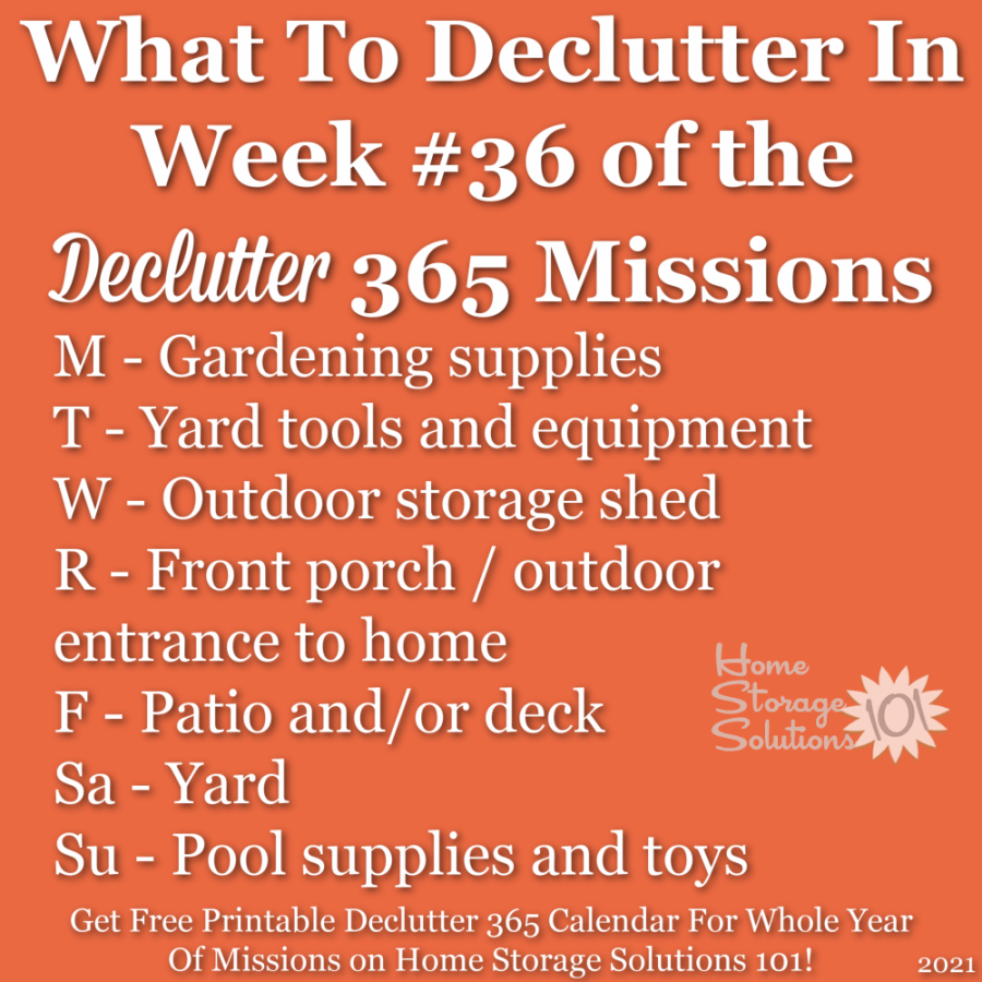 What to declutter in week #36 of the Declutter 365 missions {get a free printable Declutter 365 calendar for a whole year of missions on Home Storage Solutions 101!}