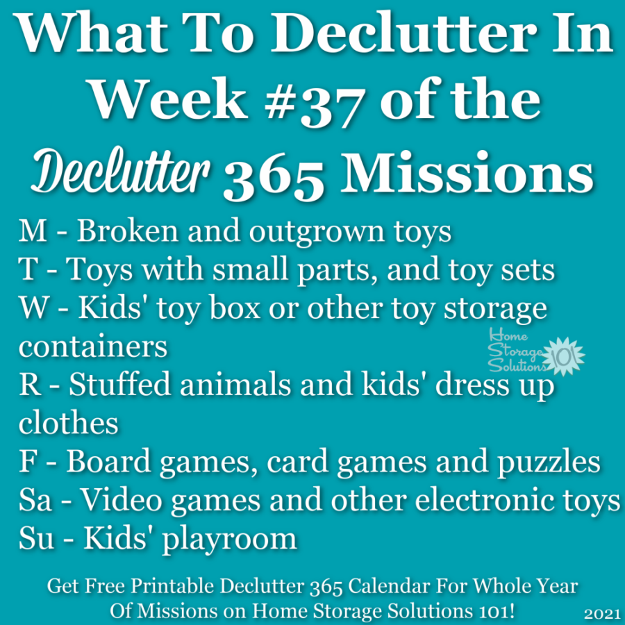 What to declutter in week #37 of the Declutter 365 missions {get a free printable Declutter 365 calendar for a whole year of missions on Home Storage Solutions 101!}