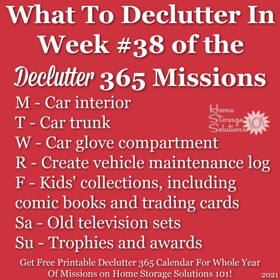 What to declutter in week #38 of the Declutter 365 missions {get a free printable Declutter 365 calendar for a whole year of missions on Home Storage Solutions 101!}