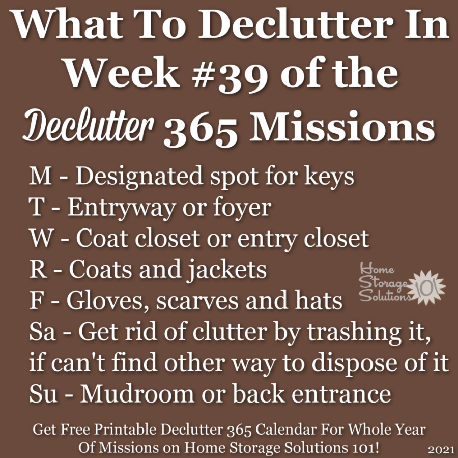 What to declutter in week #39 of the Declutter 365 missions {get a free printable Declutter 365 calendar for a whole year of missions on Home Storage Solutions 101!}
