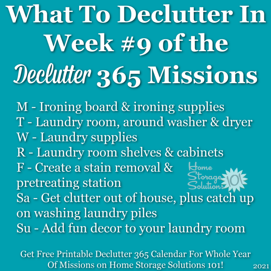 What to declutter in week #9 of the Declutter 365 missions {get a free printable Declutter 365 calendar for a whole year of missions on Home Storage Solutions 101!}