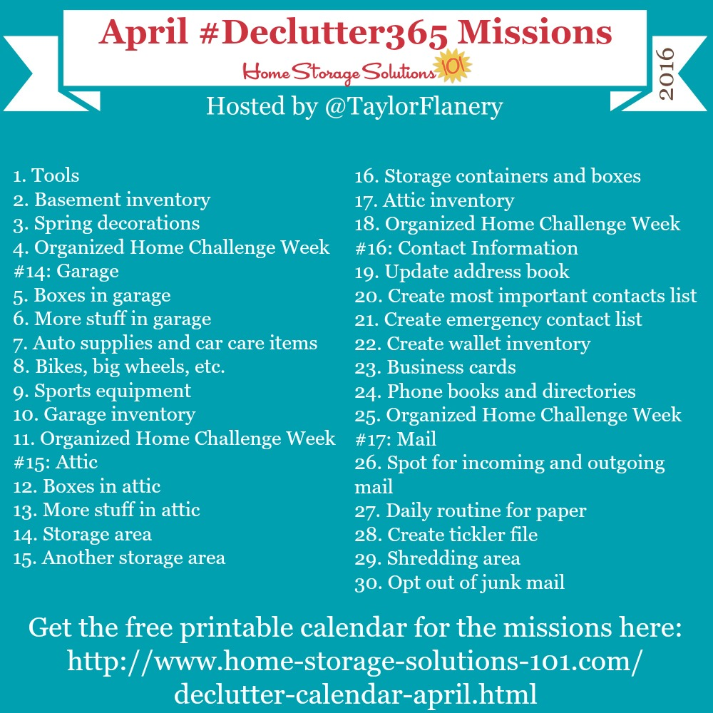 Join the #Declutter365 missions on Instagram and show off what you declutter. Here are your 15 minute missions for April! Follow taylorflanery on Instagram to see the missions daily.