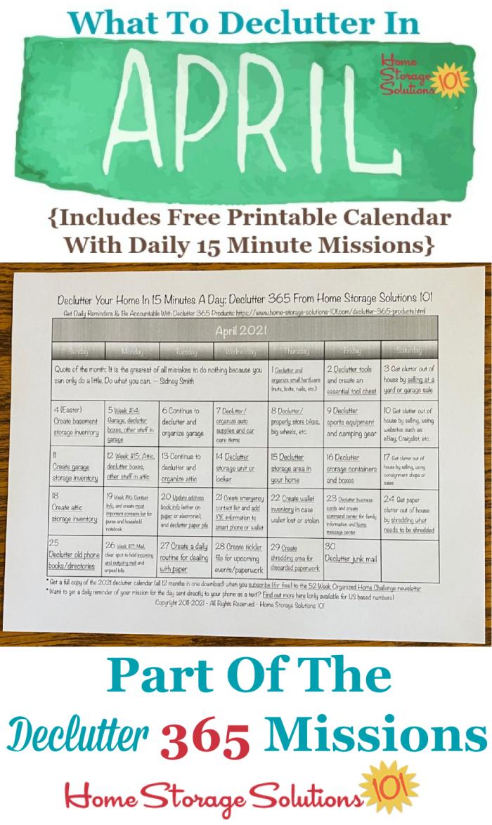 What to declutter in April 2021, including a free printable April decluttering calendar you can follow each day {on Home Storage Solutions 101} #Declutter365 #Decluttering #Declutter