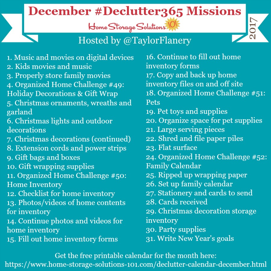 Join the #Declutter365 missions on Instagram and show off what you #declutter. Here are your 15 minute missions for December! Follow taylorflanery on Instagram to see the missions daily.