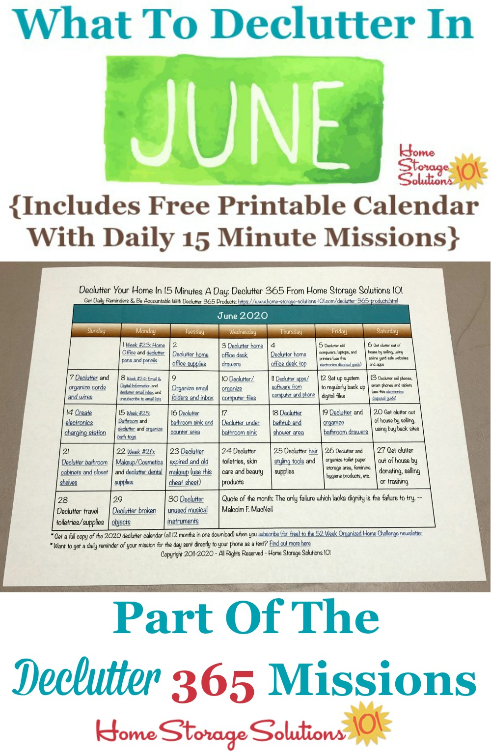 What to declutter in June 2020, including a free printable June decluttering calendar you can follow each day {on Home Storage Solutions 101} #Declutter365 #Decluttering #Declutter