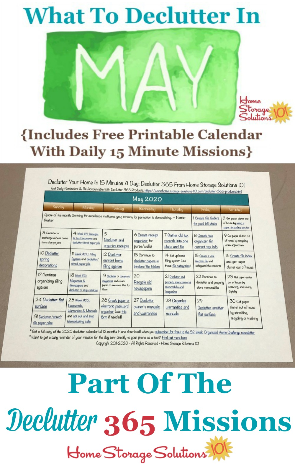 What to declutter in May 2020, including a free printable May decluttering calendar you can follow each day {on Home Storage Solutions 101} #Declutter365 #Decluttering #Declutter