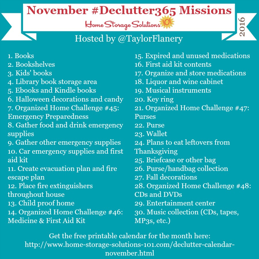Join the #Declutter365 missions on Instagram and show off what you declutter. Here are your 15 minute missions for November! Follow taylorflanery on Instagram to see the missions daily.