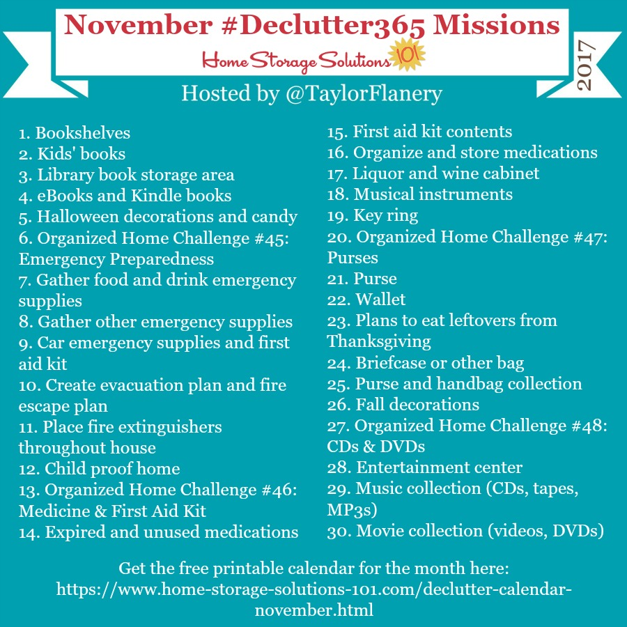 Join the #Declutter365 missions on Instagram and show off what you #declutter. Here are your 15 minute missions for November! Follow taylorflanery on Instagram to see the missions daily. #Decluttering