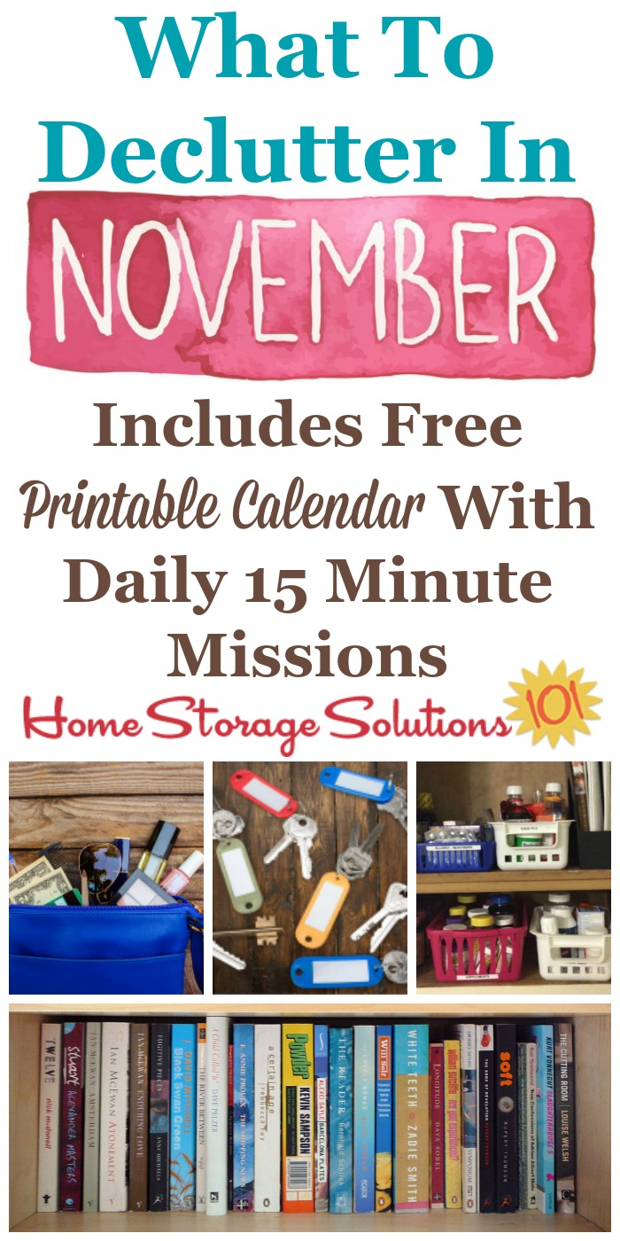 november declutter calendar  15 minute daily missions for