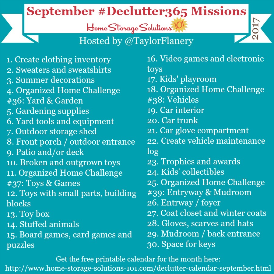 Join the #Declutter365 missions on Instagram and show off what you declutter. Here are your 15 minute missions for September! Follow taylorflanery on Instagram to see the missions daily.