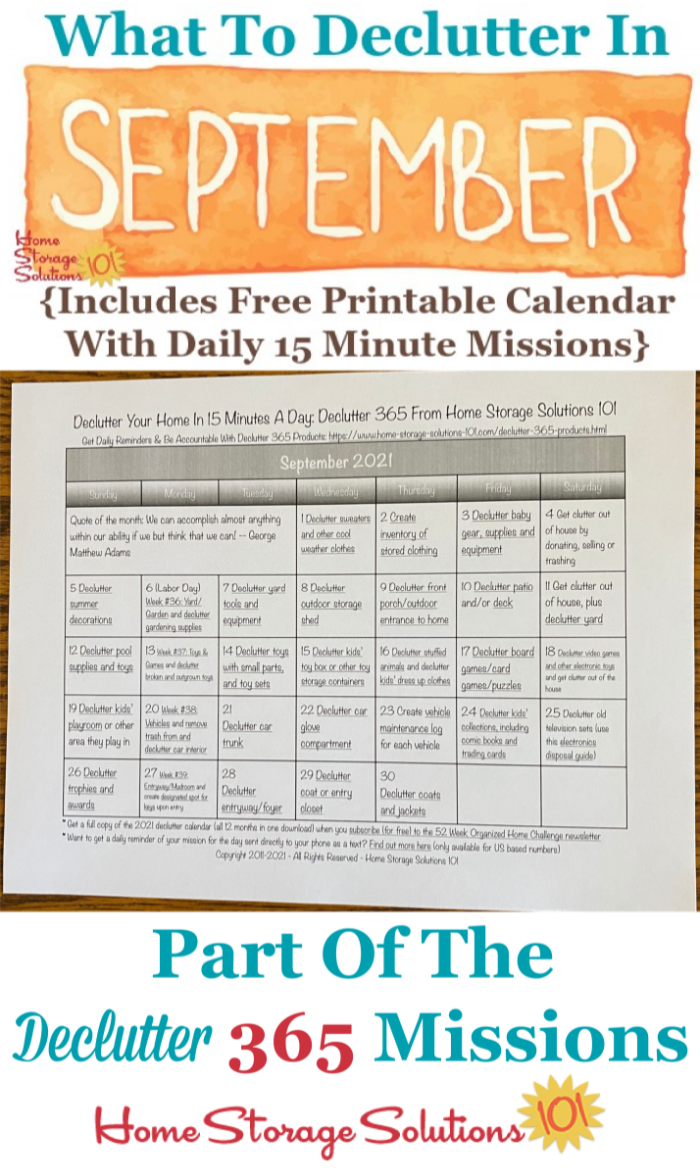 What to declutter in September 2021, including a free printable September decluttering calendar you can follow each day {on Home Storage Solutions 101} #Declutter365 #Decluttering #Declutter