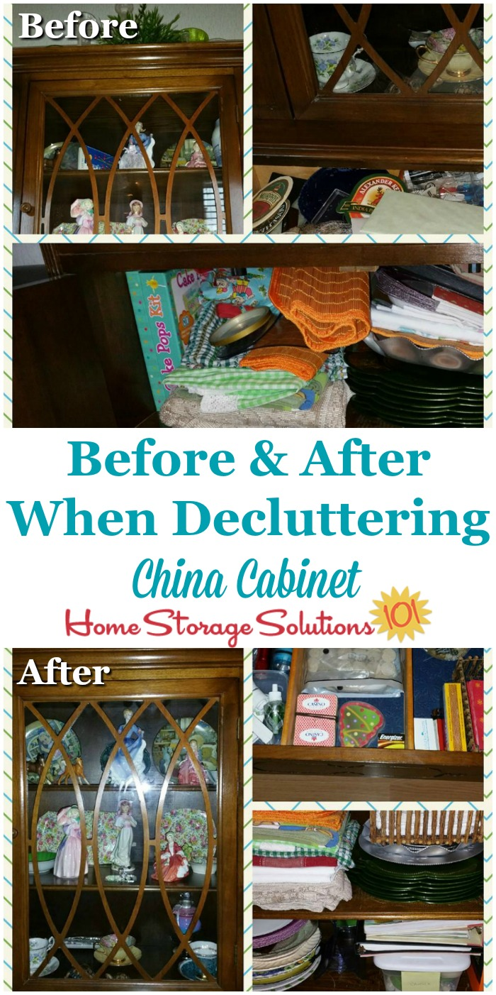 Before and after when decluttering china cabinet, including all shelves, drawers and cabinets {on Home Storage Solutions 101} #Declutter365 #DeclutteringTips #HowToDeclutter