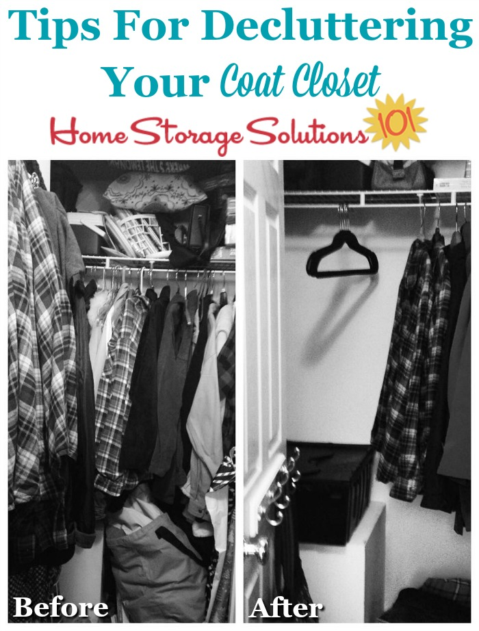 Tips for decluttering your coat closet {on Home Storage Solutions 101}