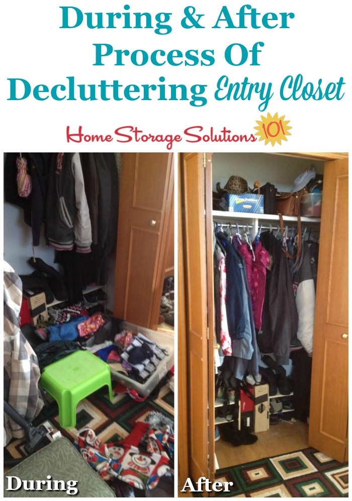 During and after photos of the process of decluttering your entry closet {on Home Storage Solutions 101}