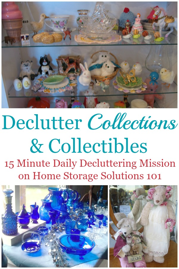 Here are tips for how to declutter collections and collectibles from your home, or to keep them from taking up too much space within your home {a #Declutter365 mission on Home Storage Solutions 101} #DeclutterCollections #DeclutterCollectibles