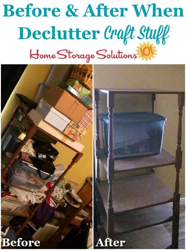 Before and after when declutter craft stuff from your home {featured on Home Storage Solutions 101}