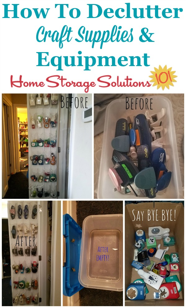 How to declutter craft supplies and equipment from your home {featured on Home Storage Solutions 101} #DeclutterCrafts #CraftClutter #DeclutteringTips