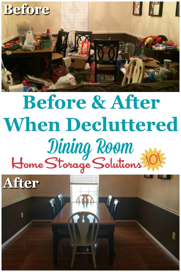 Before and after when decluttered dining room, after working thorough the Declutter 365 missions on Home Storage Solutions 101