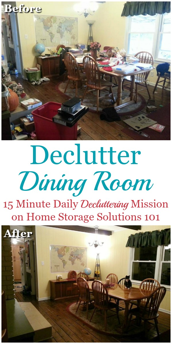 Here are simple, step by step instructions for how to declutter your dining room, so that the task isn't overwhelming, you don't make a big mess, and afterward you can enjoy this space for hospitality and dining {on Home Storage Solutions 101} #Declutter365 #DeclutterDiningRoom #DiningRoom