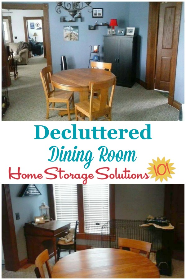 Decluttered dining room, after working thorough the Declutter 365 missions on Home Storage Solutions 101