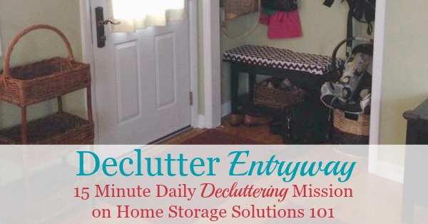 Here is how to declutter your entryway or foyer to make this highly trafficked area of your home functional, and inviting for your family and guests {a #Declutter365 mission on Home Storage Solutions 101}