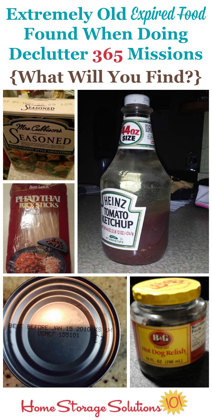 Here are examples of some of the extremely old expired food found in pantries, food storage areas and food cupboards when participants did the #Declutter365 missions for this area {on Home Storage Solutions 101} #PantryOrganization #Decluttering