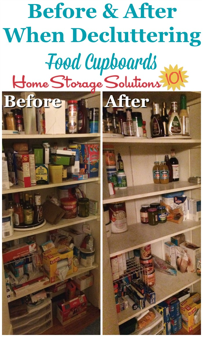 Before and after when #decluttering food storage areas, pantries and food cupboards {on Home Storage Solutions 101} #PantryOrganization #declutter