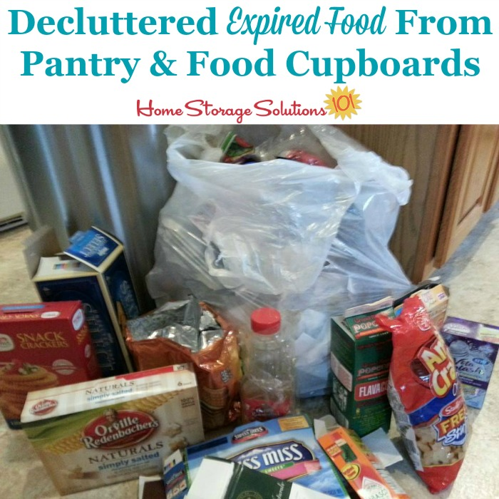 Decluttered expired food from pantry and cupboards {part of the #Declutter365 missions on Home Storage Solutions 101} #PantryOrganization #Decluttering