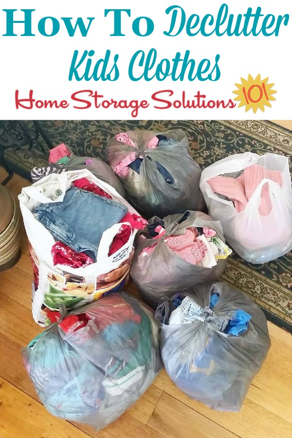 How to declutter kids clothes from their closet and bedroom, including criteria to consider and questions to ask when working through the process {on Home Storage Solutions 101} #DeclutterCloset #DeclutterClothes #DeclutteringClothes