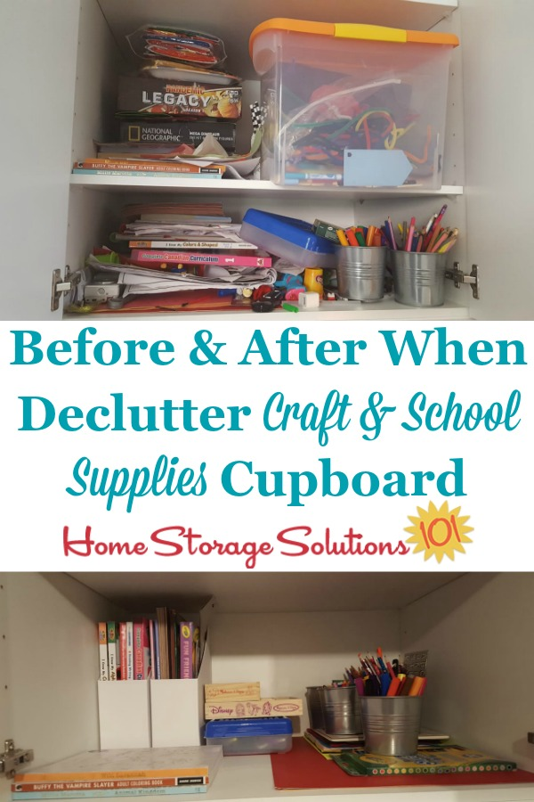 Before and after when declutter craft and school supplies cupboard {on Home Storage Solutions 101}