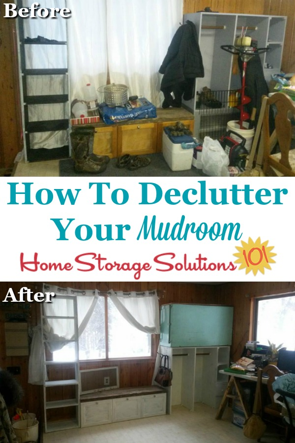 How to declutter your mudroom, including before and after photos from participants of the Declutter 365 missions {on Home Storage Solutions 101} #DeclutterMudroom #MudroomClutter #DeclutteringTips