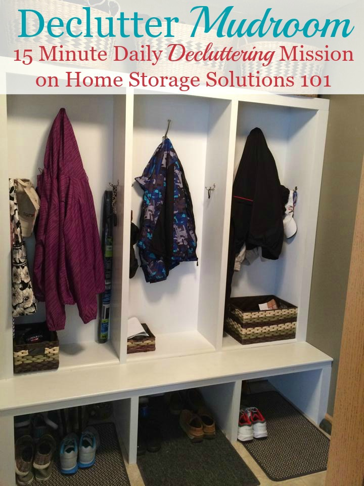 Here is how to declutter your mudroom, or other back entrance to your home, to make it a functional and useful place for your household {a #Declutter365 mission on Home Storage Solutions 101} #DeclutterMudroom #MudroomOrganization