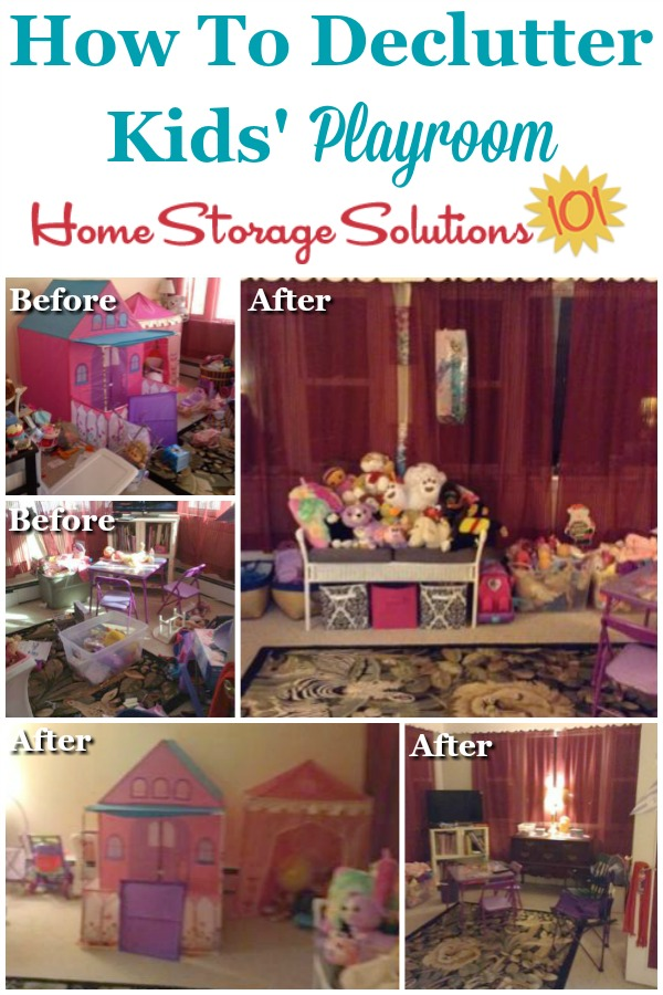 How to declutter your kids' playroom, to remove clutter so kids can actually have room to play with what's left {on Home Storage Solutions 101}