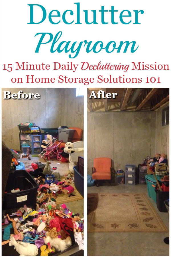 Here's how to declutter a playroom without making a bigger mess in the process, and without overwhelm {a Declutter 365 mission on Home Storage Solutions 101} #DeclutterPlayroom #PlayroomClutter #KidsClutter