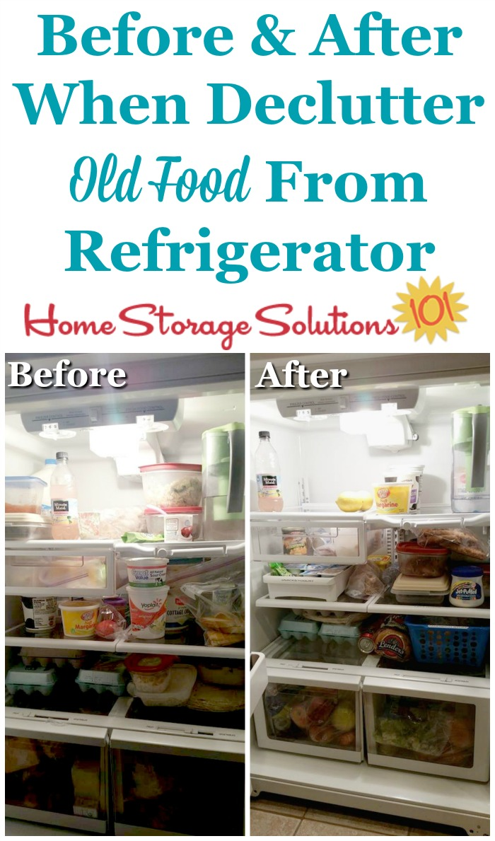 Before and after when you #declutter old and expired food from your refrigerator {part of the #Declutter365 missions on Home Storage Solutions 101} #Decluttering