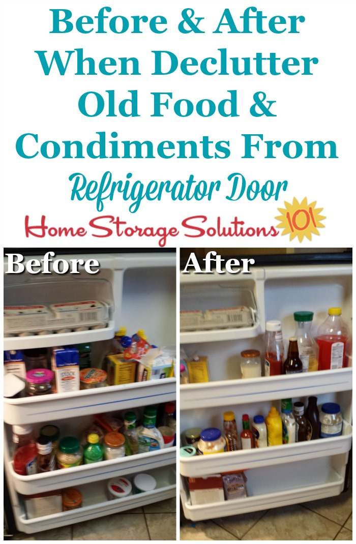 Before and after when you #declutter refrigerator door of old and expired food and condiments {part of the #Declutter365 missions on Home Storage Solutions 101} #Decluttering