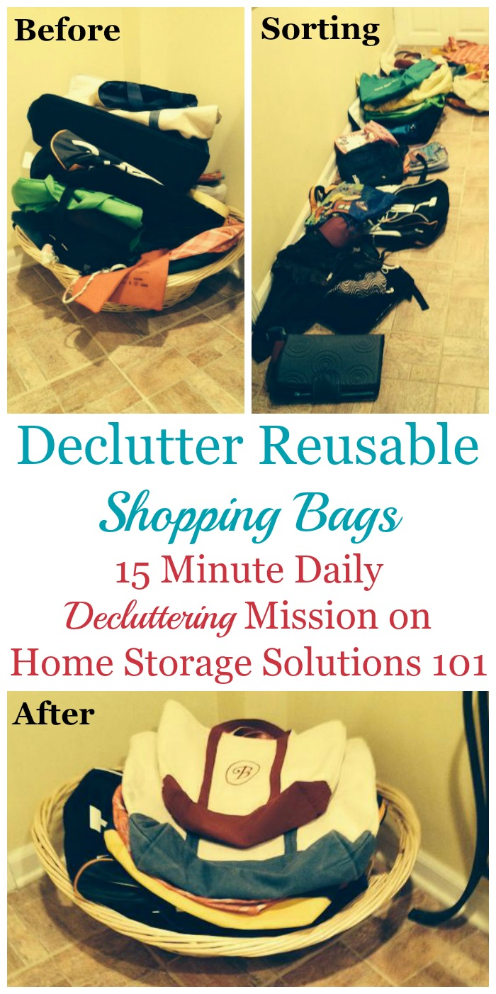 Fifteen minute #Declutter365 mission about how and why to #declutter reusable shopping bags and grocery totes from your home when you've got excess {on Home Storage Solutions 101} #Decluttering