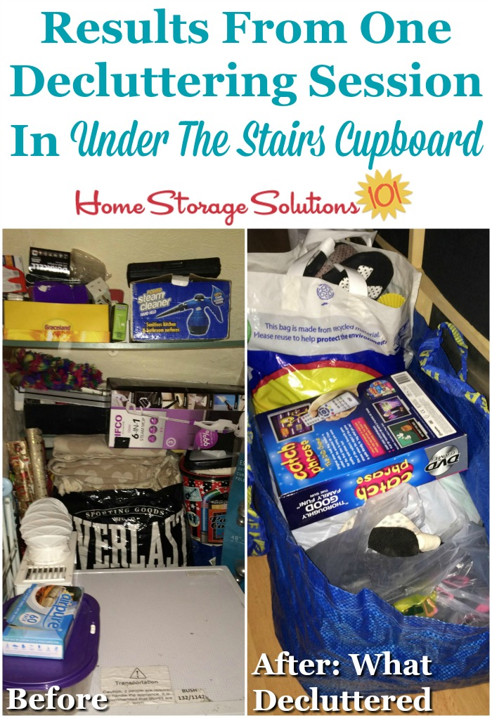 Results from one decluttering session in the under the stairs cupboard {featured on Home Storage Solutions 101}